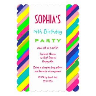 A festa de aniversário adolescente da menina convite 12.7 x 17.78cm
