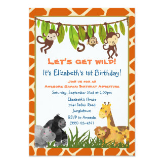 A festa de aniversário animal do tema da selva do convite 12.7 x 17.78cm