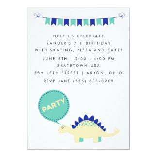 A festa de aniversário azul do dinossauro dos convite 11.30 x 15.87cm