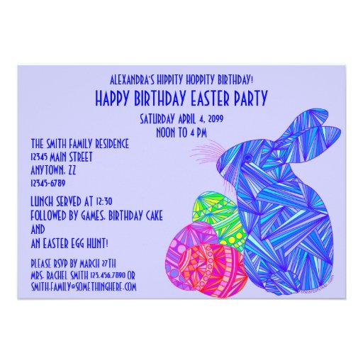 A festa de aniversário azul do tema da páscoa do d convite personalizados