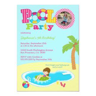A festa de aniversário bonito da foto das meninas convite 12.7 x 17.78cm