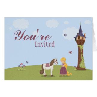 A festa de aniversário bonito da menina da torre cartão comemorativo