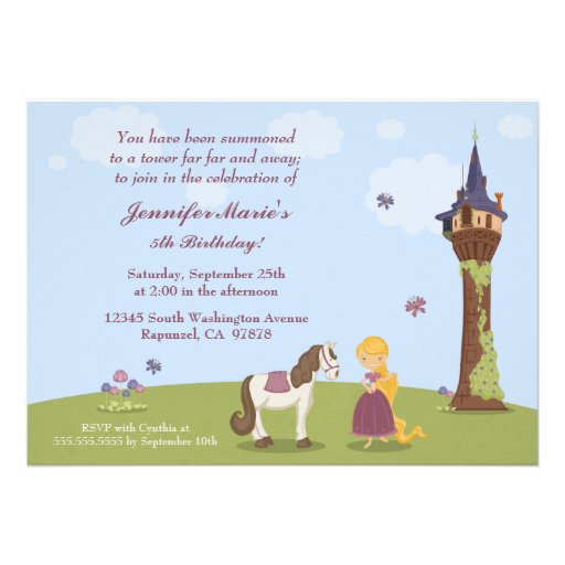 A festa de aniversário bonito da menina da torre d convites personalizado