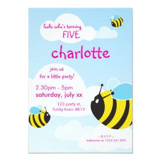 A FESTA DE ANIVERSÁRIO CONVIDA:: abelhas no céu 1P Convite 12.7 X 17.78cm