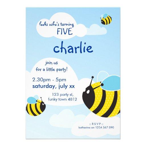 A FESTA DE ANIVERSÁRIO CONVIDA:: abelhas no céu 2P Convite Personalizado