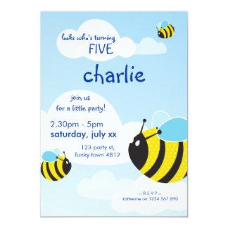 A FESTA DE ANIVERSÁRIO CONVIDA:: abelhas no céu 2P Convite 12.7 X 17.78cm