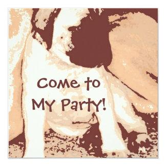 A festa de aniversário convida/filhote de cachorro convite quadrado 13.35 x 13.35cm