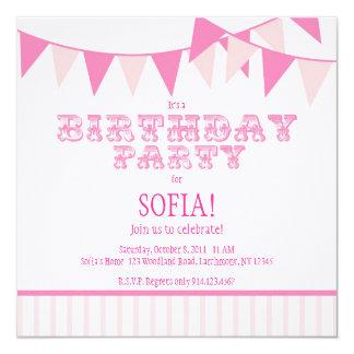 A festa de aniversário cor-de-rosa do carnaval convite quadrado 13.35 x 13.35cm