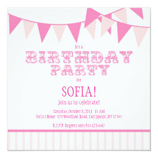 A festa de aniversário cor-de-rosa do carnaval convites