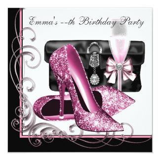 A festa de aniversário cor-de-rosa e preta da convite quadrado 13.35 x 13.35cm