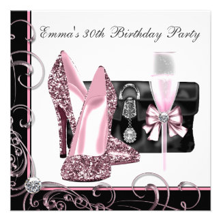 A festa de aniversário cor-de-rosa e preta da mulh convite
