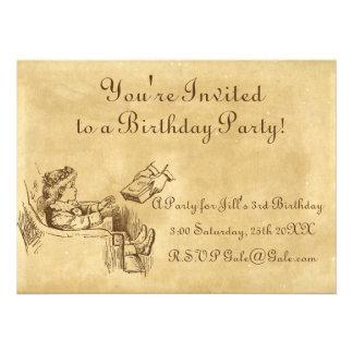 A festa de aniversário da criança do vintage convite