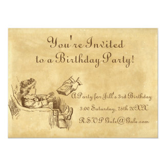 A festa de aniversário da criança do vintage convite 13.97 x 19.05cm