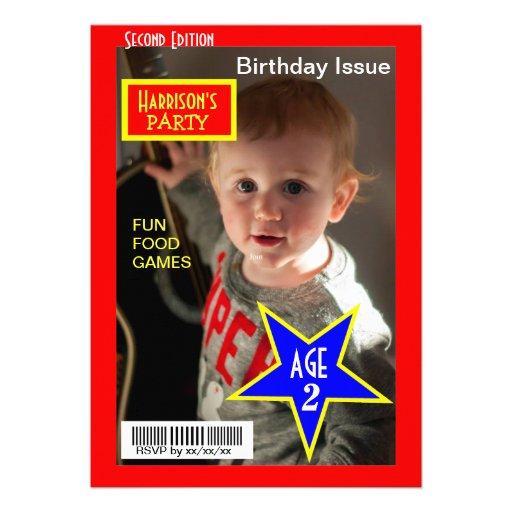 A festa de aniversário da foto do compartimento co convites personalizados