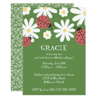 A festa de aniversário da menina do verde de musgo convite 12.7 x 17.78cm