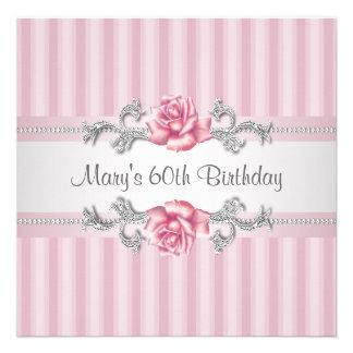 A festa de aniversário da mulher 60th do rosa do r convites personalizado