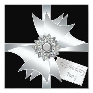 A festa de aniversário da mulher branca preta 60th convite quadrado 13.35 x 13.35cm