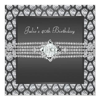 A festa de aniversário da mulher do carvão convite quadrado 13.35 x 13.35cm