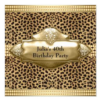 A festa de aniversário da mulher do leopardo do convite quadrado 13.35 x 13.35cm