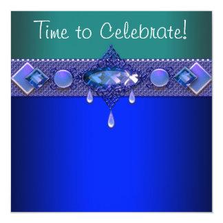 A festa de aniversário da mulher do verde de jade convite quadrado 13.35 x 13.35cm