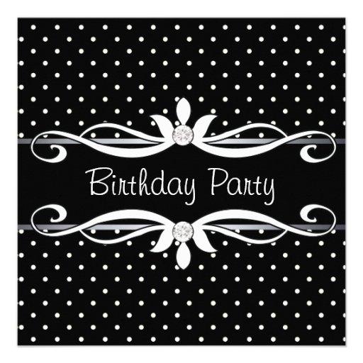 A festa de aniversário da mulher preta das bolinha convites