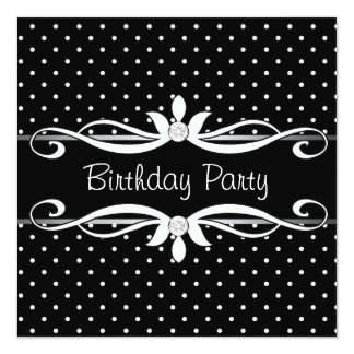 A festa de aniversário da mulher preta das convite quadrado 13.35 x 13.35cm