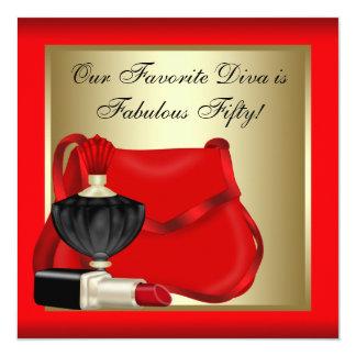 A festa de aniversário da mulher preta vermelha convite personalizados