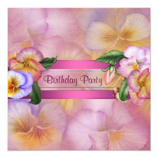 A festa de aniversário da mulher roxa cor-de-rosa convite quadrado 13.35 x 13.35cm