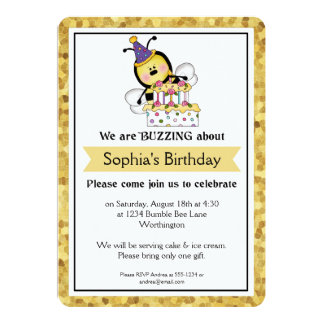 A festa de aniversário das crianças pouco Bumble a Convite 12.7 X 17.78cm