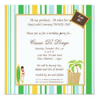 a festa de aniversário de 5x5 Luau convida Convite Personalizados