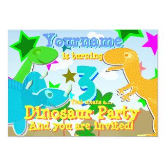 A festa de aniversário de giro de 3 dinossauros convite 12.7 x 17.78cm