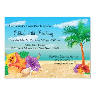 A festa de aniversário de Luau da estrela do mar Convite 12.7 X 17.78cm