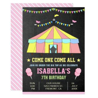 A festa de aniversario de meninas cor-de-rosa do convite 12.7 x 17.78cm