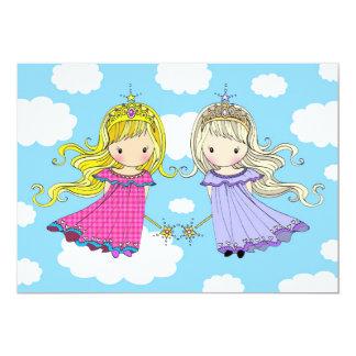 A festa de aniversario de meninas gêmea convida convite 12.7 x 17.78cm
