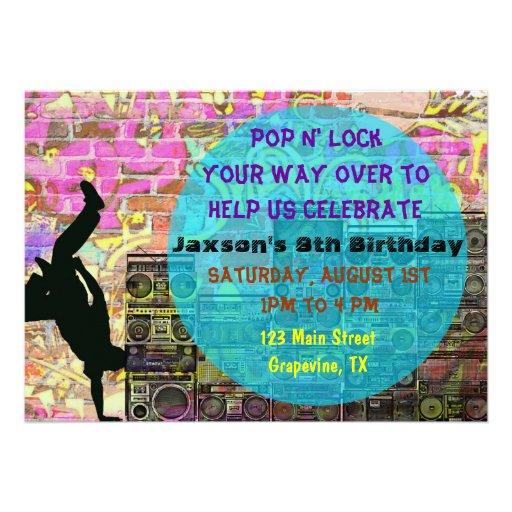 A festa de aniversário do anos 80 da dança de rupt convites personalizados