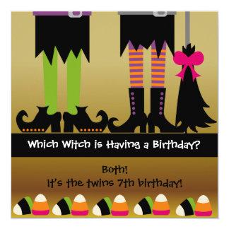 A festa de aniversário do Dia das Bruxas da bruxa Convite Quadrado 13.35 X 13.35cm