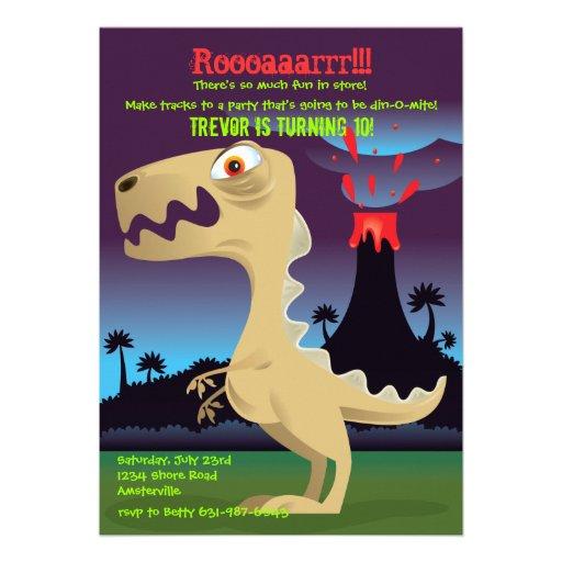 A festa de aniversário do dinossauro da erupção do convite personalizados