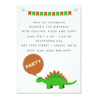 A festa de aniversário do dinossauro verde dos convite 11.30 x 15.87cm
