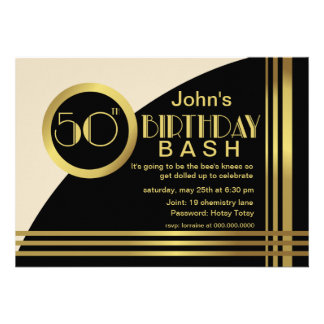 A festa de aniversário do estilo 50th do 1920 de H Convites