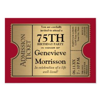 A festa de aniversário do estilo 75th do bilhete convite