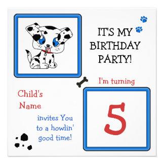 A festa de aniversário do filhote de cachorro conv convites personalizado