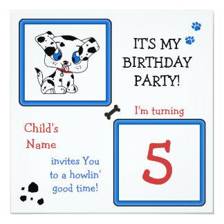 A festa de aniversário do filhote de cachorro convite quadrado 13.35 x 13.35cm