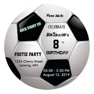 A festa de aniversário do futebol convida 2 convite quadrado 13.35 x 13.35cm