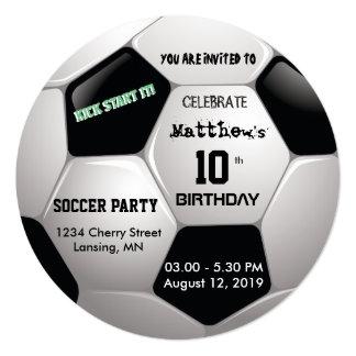 A festa de aniversário do futebol convida convite quadrado 13.35 x 13.35cm