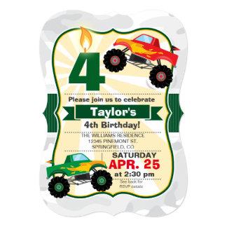 A festa de aniversário do menino do monster truck convite 12.7 x 17.78cm