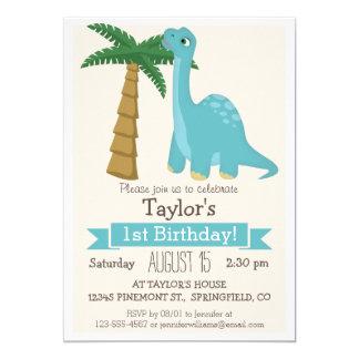 A festa de aniversário do miúdo azul do dinossauro convite 12.7 x 17.78cm