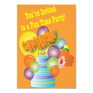 A festa de aniversário do miúdo do palhaço convite 8.89 x 12.7cm