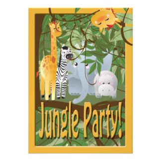 A festa de aniversário do safari dos animais da se convite