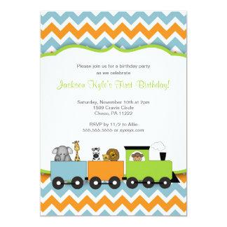 A festa de aniversário do trem do safari convite 12.7 x 17.78cm
