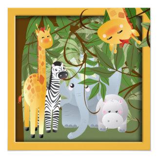 A festa de aniversário dos animais do safari de convites